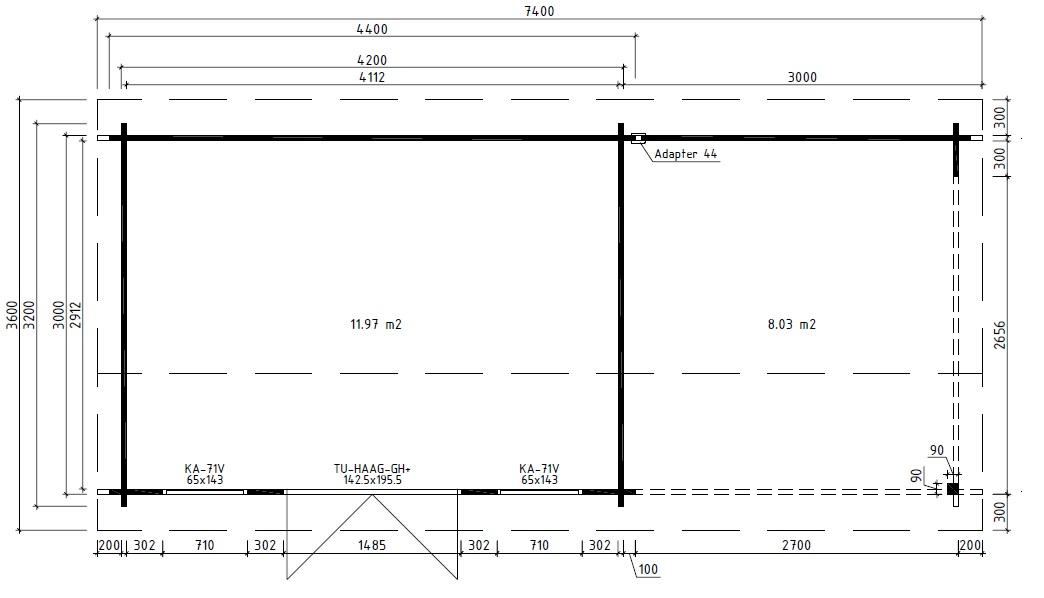 Caseta de jardín Eva D 12m2 / 3x7m / 44mm
