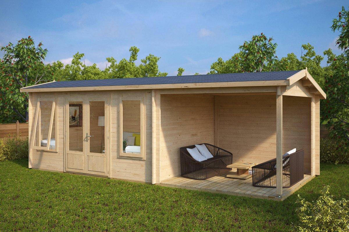 gartenhaus mit terrasse eva d 12m 44mm 3x7 casetas. Black Bedroom Furniture Sets. Home Design Ideas