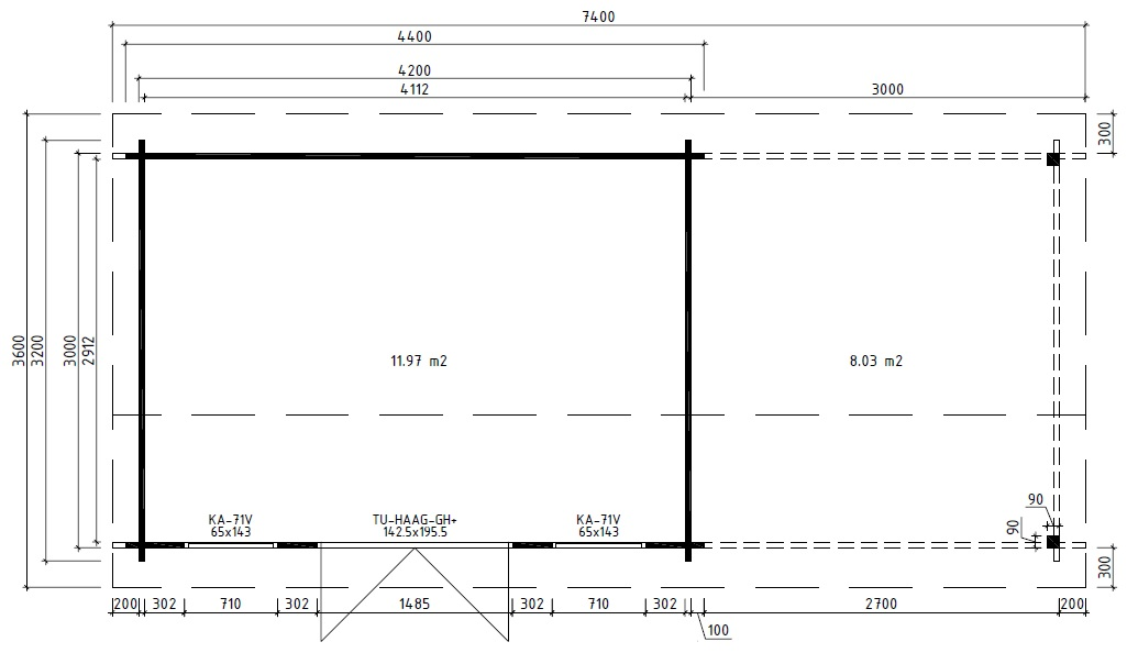 Caseta de madera Eva D 12m2 / 3x4m / 44mm