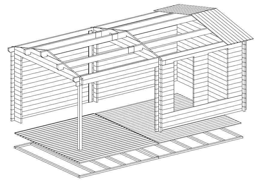 Caseta de jardín Nora E 9m2 / 6x3m / 44mm
