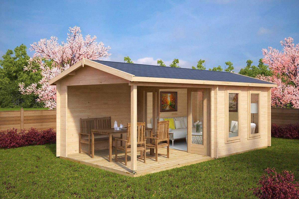 Summer house nora e with veranda 9m 3 4 x 3 2 m 44mm for Garden room 5x3