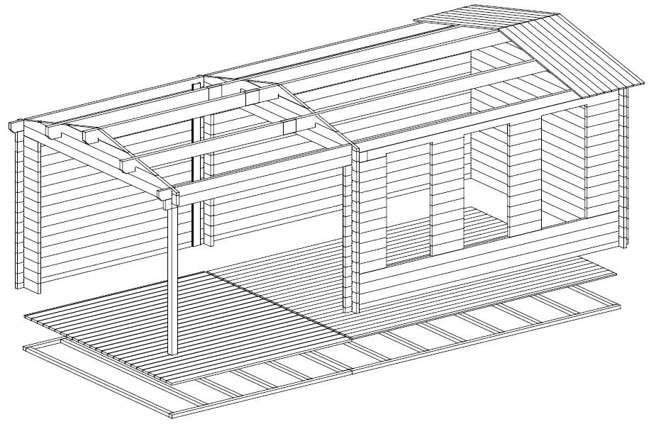 Caseta de madera Eva E 12m2 / 7x3m / 44mm