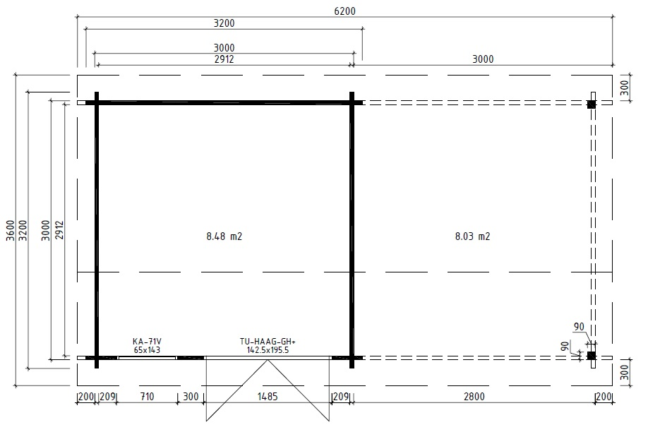 Caseta de madera Nora D 9m2 / 3x3m / 44mm