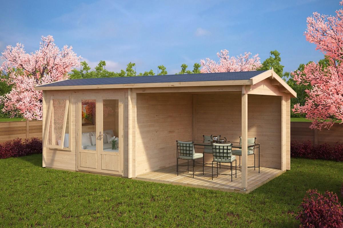 gartenhaus mit terrasse nora d 9m 44mm 3x6 casetas. Black Bedroom Furniture Sets. Home Design Ideas