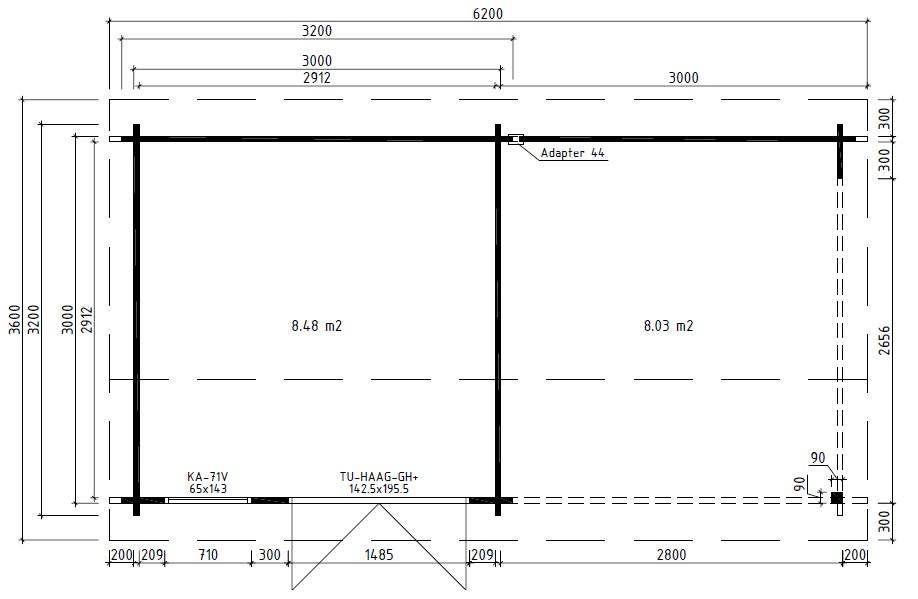 Caseta de jardín Nora D 9m2 / 6x3m / 44mm