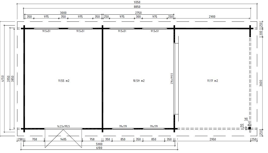 Casa de madera multifuncional Robin 22m2 / 9 x 4 m / 58mm