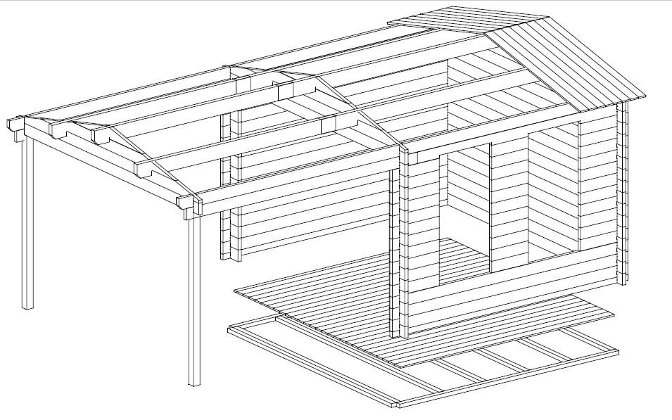 Caseta de jardín con marquesina Nora E 9 m2 / 3 x 3 / 44mm
