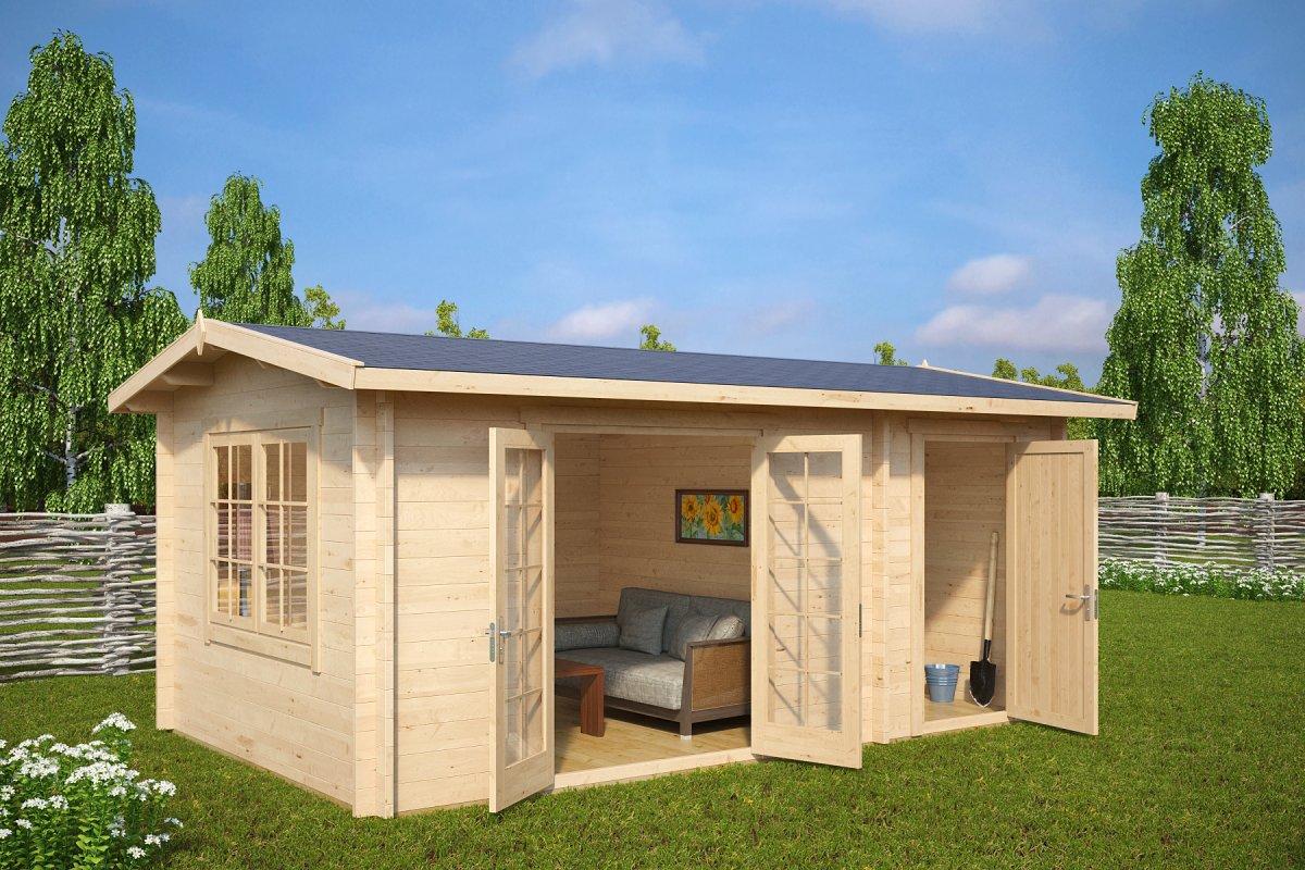 gartenhaus mit ger teraum super fred 15m2 44mm 5x3 casetas de jardin 24. Black Bedroom Furniture Sets. Home Design Ideas