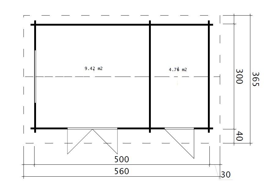 Caseta de jardín Super Fred 15m2 / 5x3m / 44mm