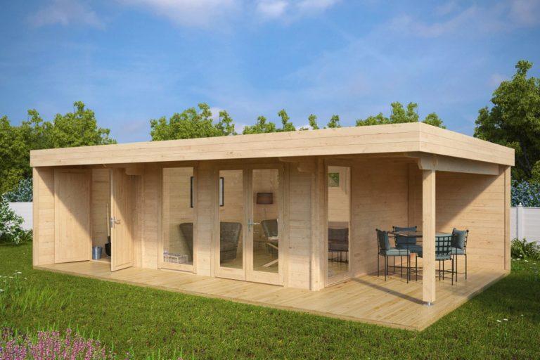 Caseta de jardín con trastero y porche Hansa Lounge XXL 22m2 / 8x5m / 44mm