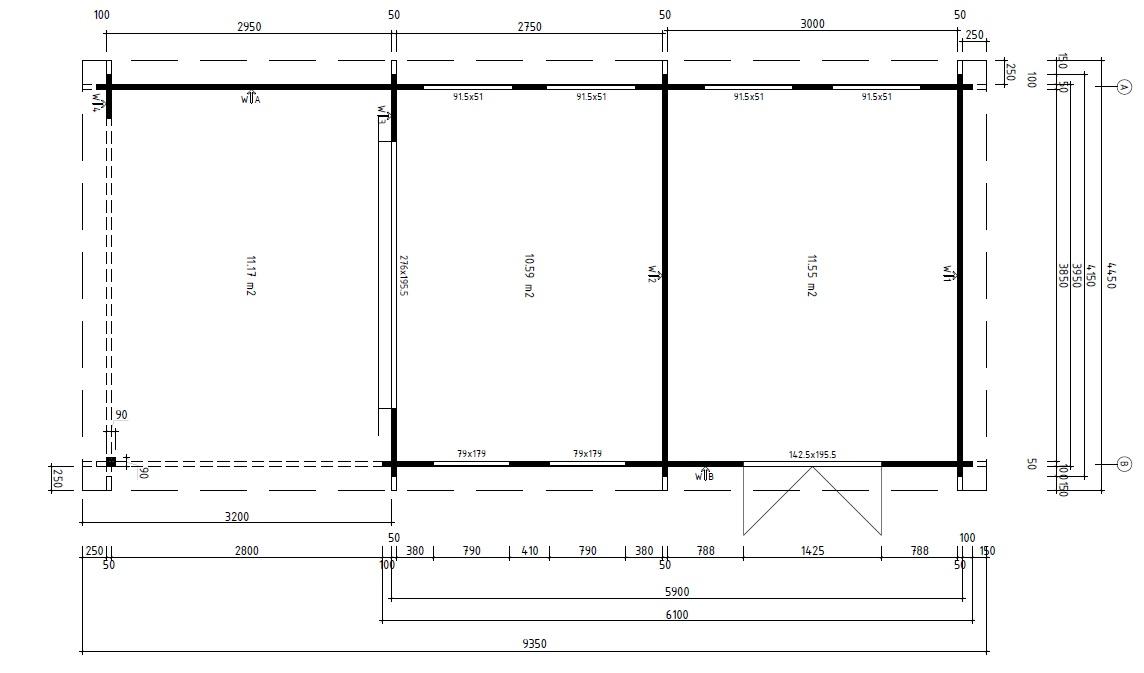gartenhaus mit schuppen rio 22m 50mm 4x9m casetas de jardin 24. Black Bedroom Furniture Sets. Home Design Ideas