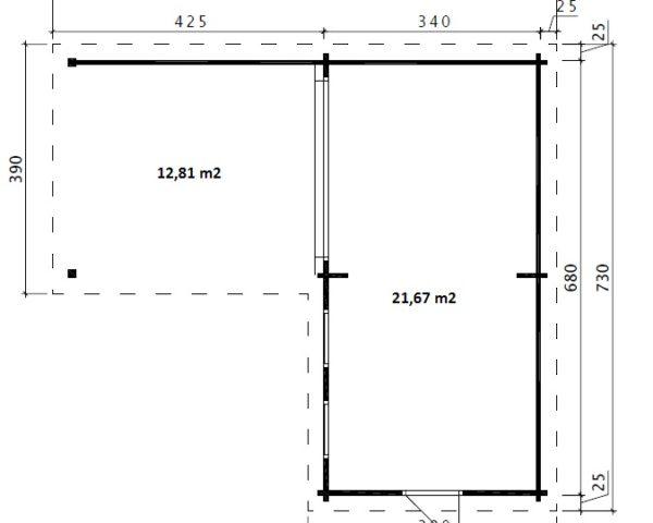 Caseta de jardín Hansa Corner Deluxe A 22m2 / 7x3m / 70mm