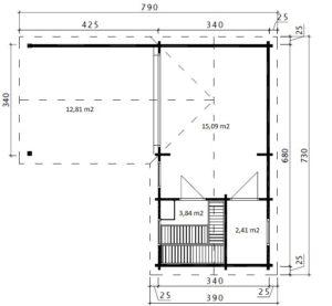 """Sauna de exterior """"A"""" 22m2 / 70mm / 7 x 3 m"""