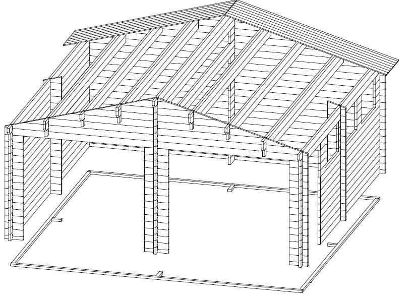 Garaje doble de madera
