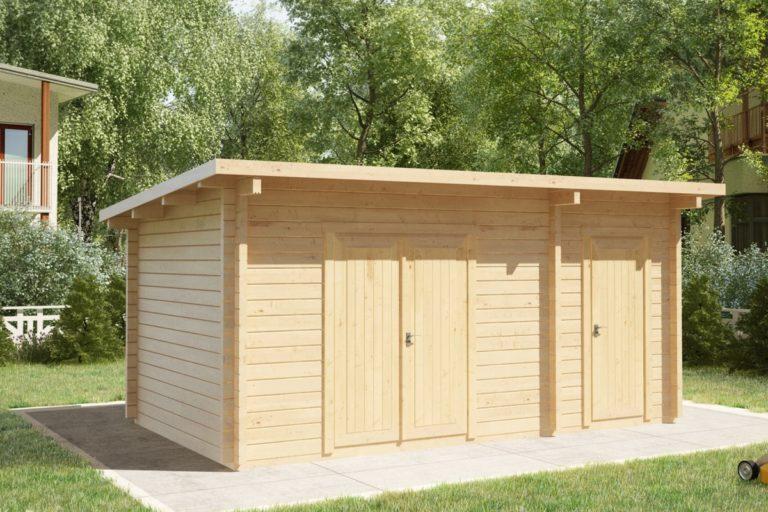 Cobertizo doble de madera