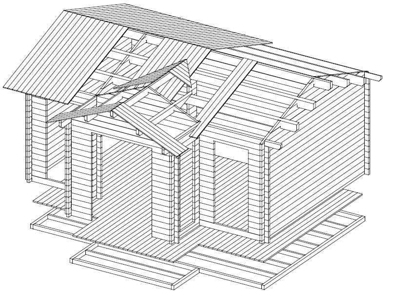 Caseta de jardín Eamon 25m2 / 6 x 4 m / 58mm