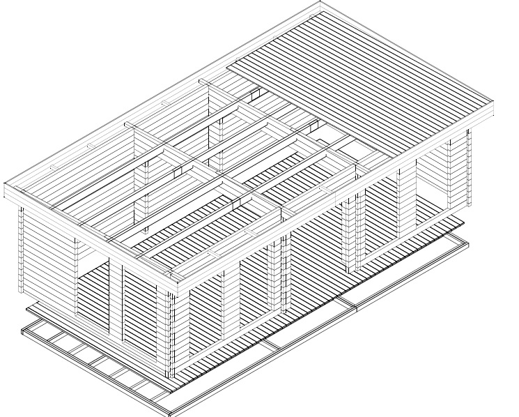Casa de jardín B 30 m2 / 70mm / 8x4m