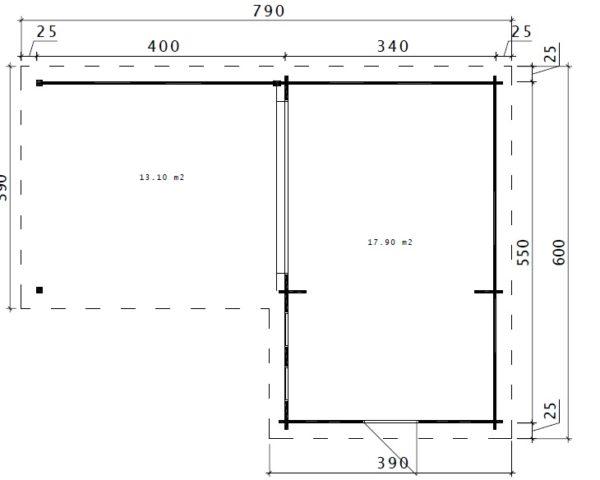 Caseta de jardín Hansa Corner A 18m2 / 6x3m / 44mm