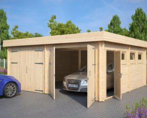 "Garaje doble de madera ""F"" con puertas dobles / 6x5m / 44mm"