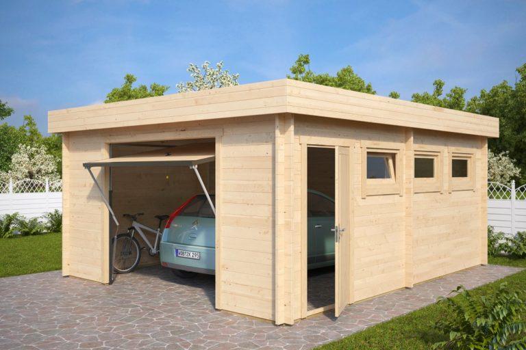Garaje de madera con puerta basculante Hörmann