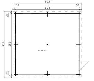 Holzgarage F mit Schwingtor Bodenplan