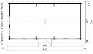 Casa de madera C 30 m2 / 70mm / 8x4m