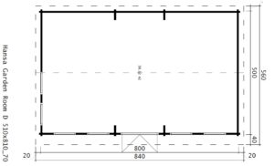 Casa de madera D 38 m2 / 70mm / 8x5m
