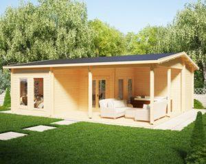 Casa de madera con dos dormitorios Holiday B 42m2 / 7x9m / 70mm
