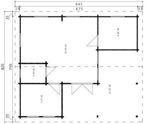 Blockhaus Holiday B Bodenplan
