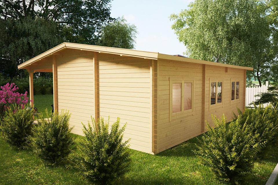 Casa de madera con tres dormitorios Holiday D / 50m2 / 7 x 9 m / 70mm