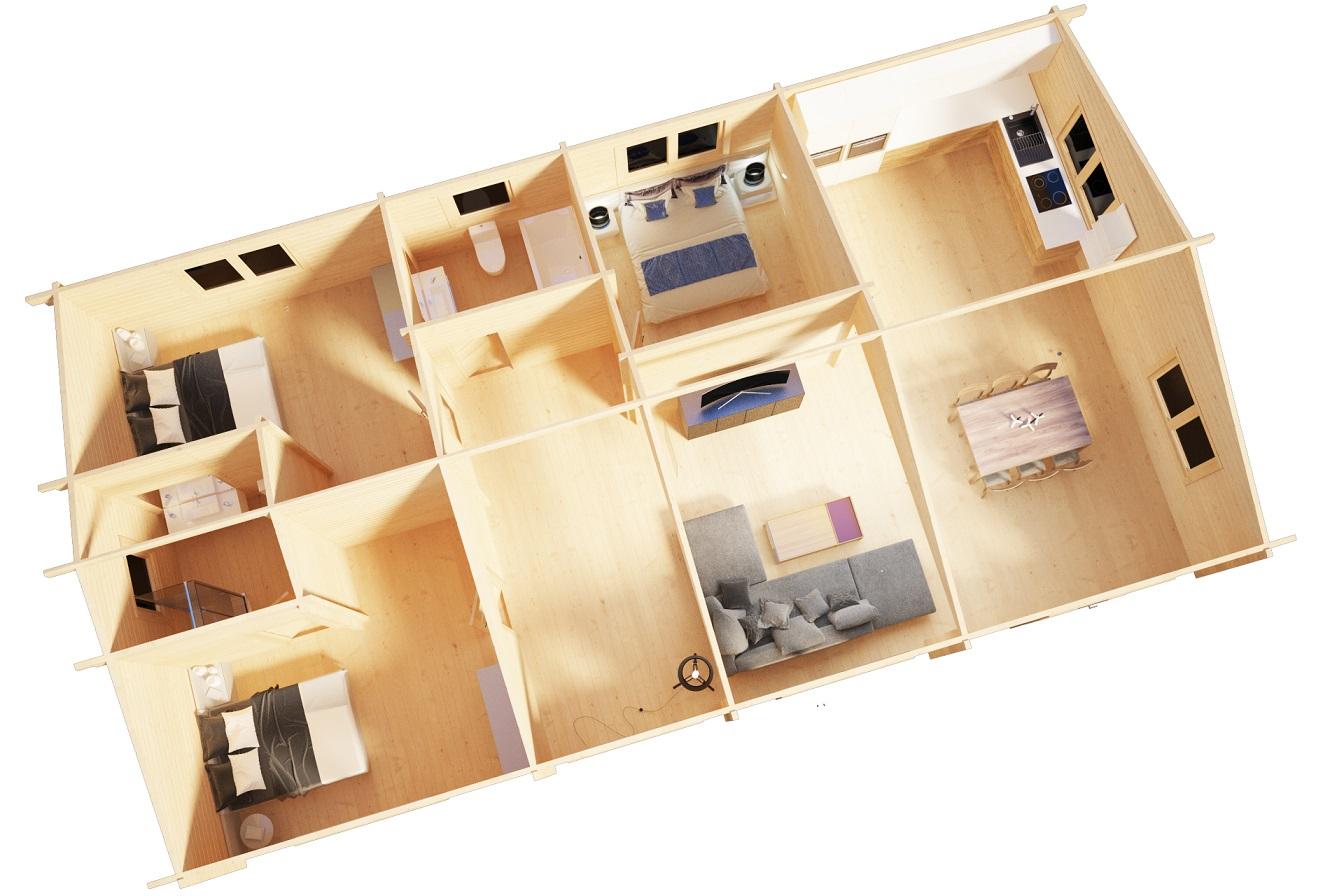 Casa de madera Holiday G 100m2 / 14 x 7m / 70m