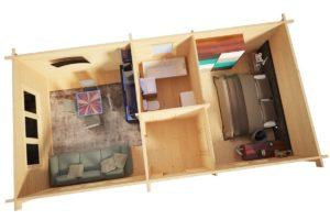 Casa de madera con un dormitorio Holiday I 40m2 / 70mm