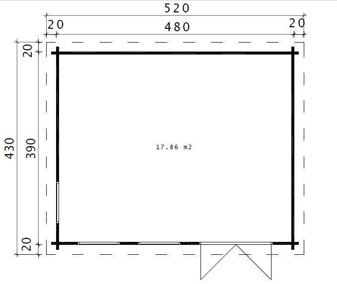 Caseta de jardín Ian D 18m2 / 5 x 4 m / 58mm