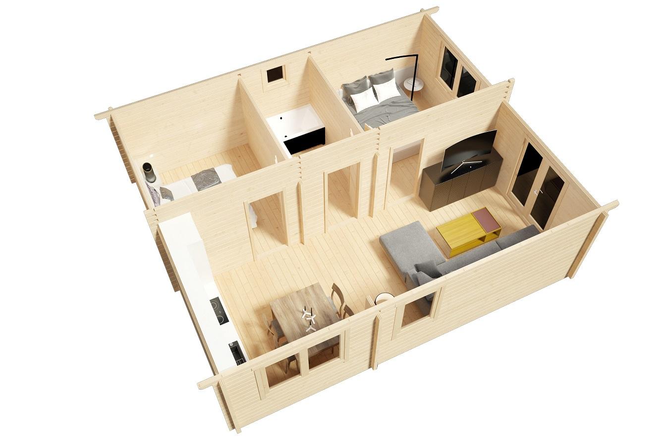 Casa de madera Ireland 42m2 / 6 x 7m / 70mm