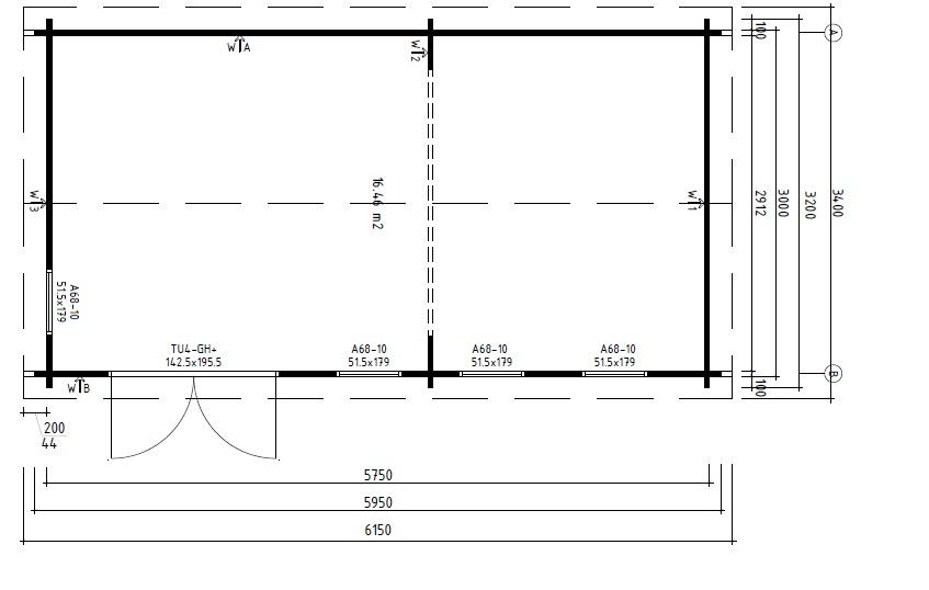 Caseta de jardín Linda 16m2 / 3 x 6 m / 44mm