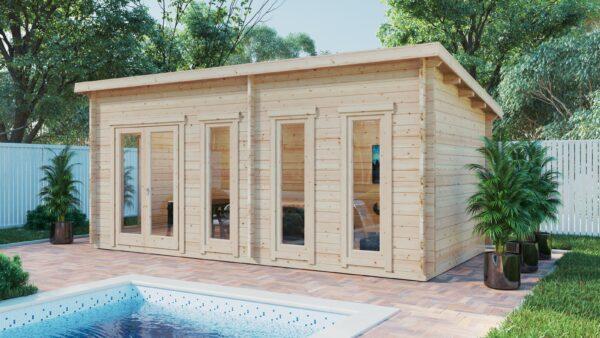 Caseta de jardín Liam / 16m² / 3x6m / 44mm