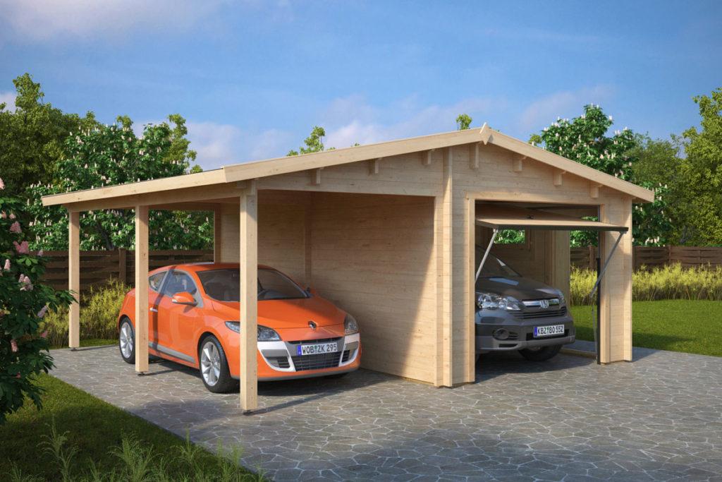 Garaje de madera g puerta basculante h rmann 6x5m for Puerta garaje basculante precio