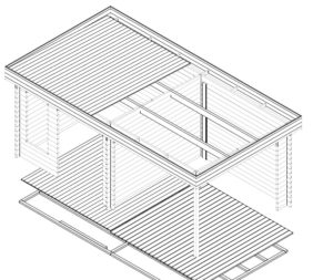 Caseta de jardín Lucas D 9m2 / 6x3m / 44mm