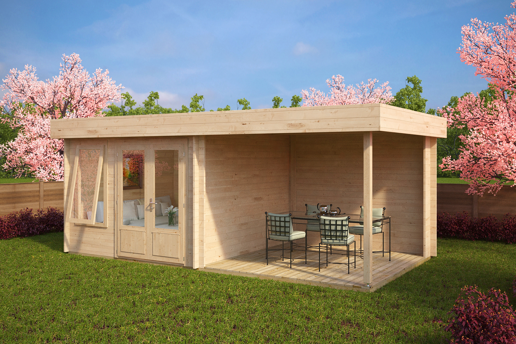Garden Room Lucas D with veranda 9m² / 6 x 3 m / 44mm