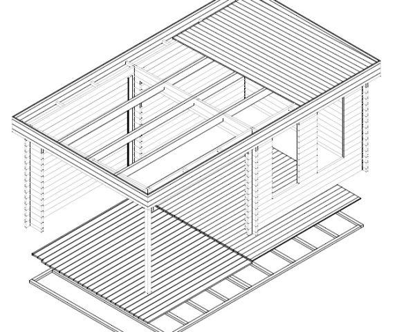 Caseta de jardín Lucas E 9m2 / 6x3m / 44mm