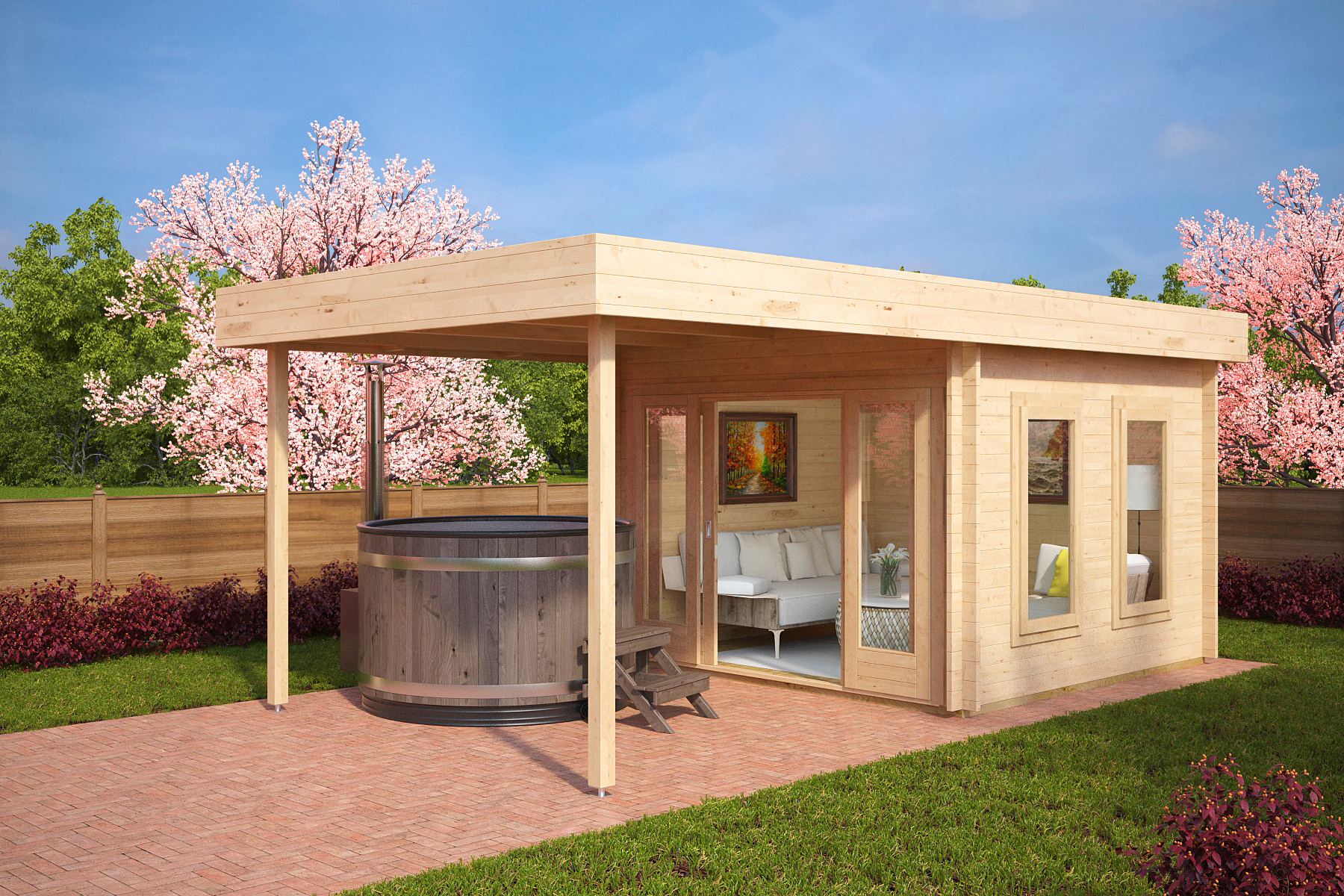 Garden room lucas e with canopy 9m 3 x 3 m 44mm for Garden room definition