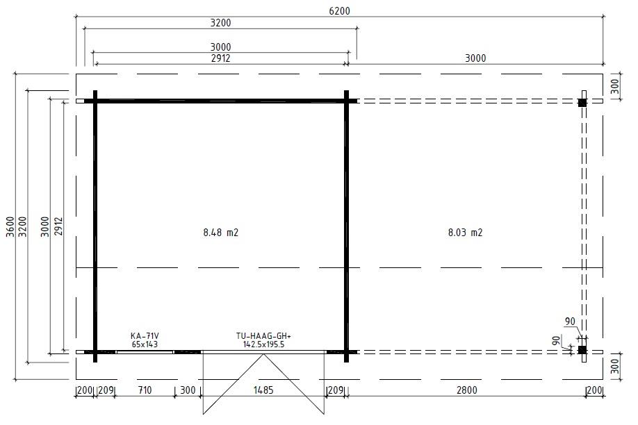 Caseta de madera Lucas D 9m2 / 3x3m / 44mm