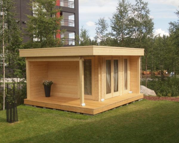 Caseta de madera Mini Hansa Lounge 9m2 / 4,5x4m / 44mm