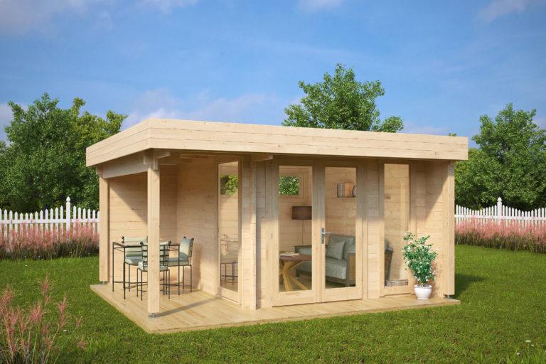 Caseta de madera Mini Hansa Lounge 9m2 / 4,5x4m / 44mm
