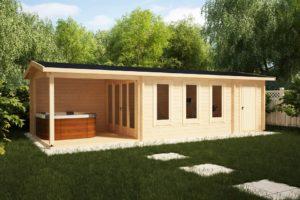 Garden Log Cabin with shed and veranda Super Eva E
