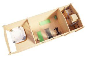 Caseta de jardín con porche y trastero Super Eva E 18 m2 / 9x3 m / 44 mm