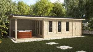 garden room with terrace and storage room