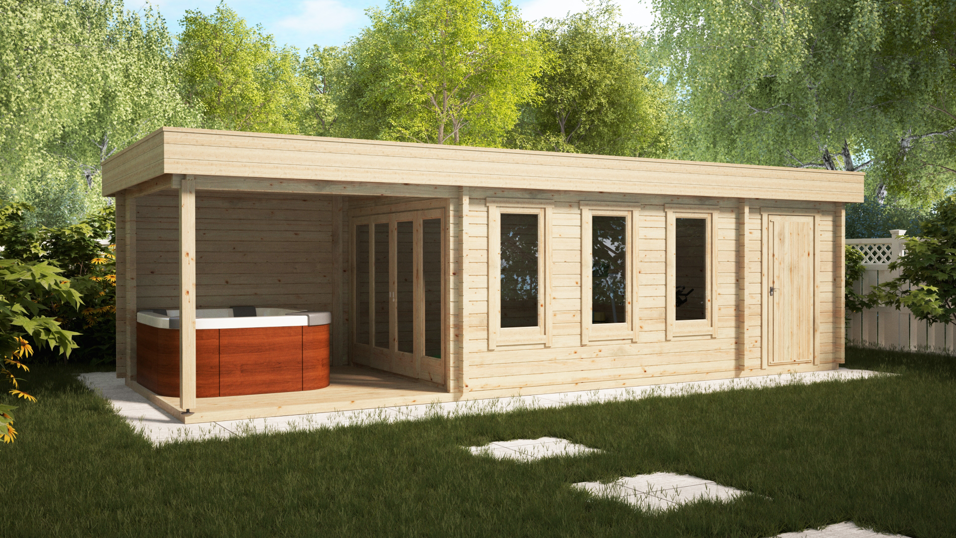 Garden log cabin with shed and veranda super jacob e 18m for Garden shed 2 rooms