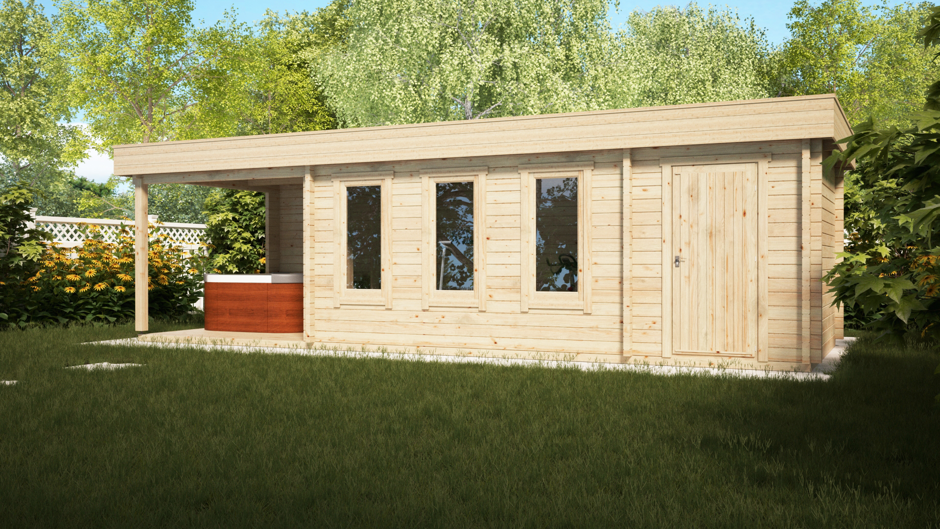 Garden Log Cabin with Shed and Veranda Super Jacob E 18m² / 9 x 3 m / 44mm