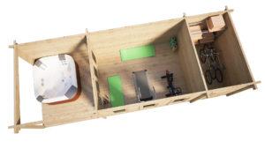 Garden Log Cabin with Shed and Veranda Super Jacob E 18m² / 9 x 3 m / 44mm